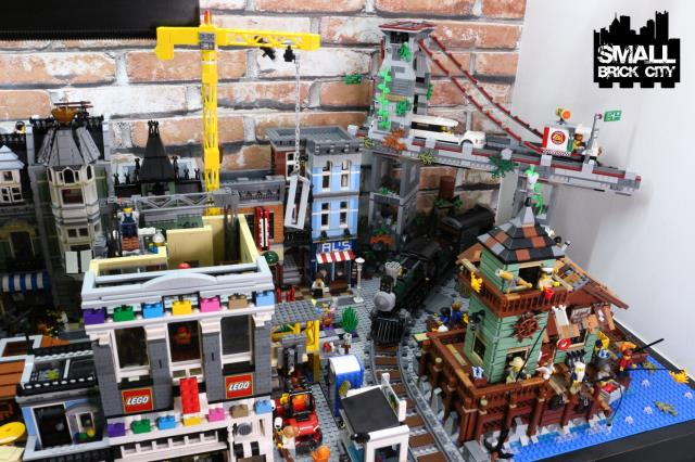 Overview of a custom lego city small brick city for Lego old fishing store