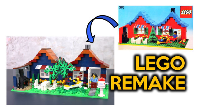 Remake of 1978 Classic LEGO 376 Set Town House with a Garden